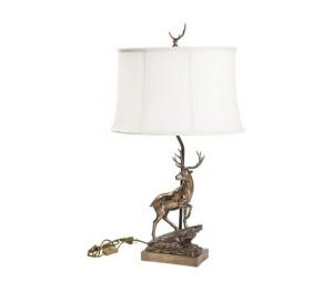 Lampada da tavolo in bronzo cervo paralume in tessuto