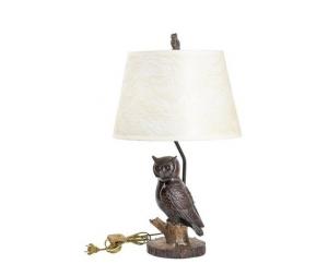 Lampada da tavolo in bronzo gufo