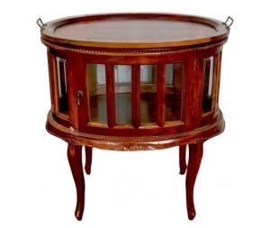 Tavolino bar in legno noce ovale