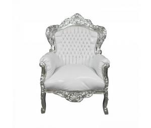 Poltrona barocco grande argento bianco