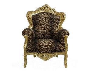 Poltrona barocco grande oro leopardata