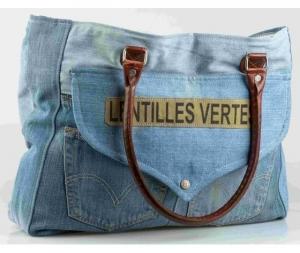 Borsa Jeans ecopelle  con manici Lentilles