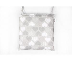 Coprisedia cuscino quadrato sfoderatile con zip in robusto tessuto Mirah con bordatura a profilo piatto double face imbottito fantasia cuore 50x50cm