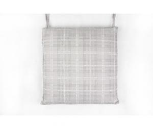 Coprisedia cuscino quadrato sfoderatile con zip in robusto tessuto Mirah con bordatura a profilo piatto double face imbottito scozzese grigio 50x50cm