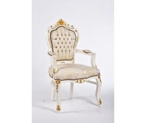 Poltrona barocco bianco con intarsi dorati stile Luigi XV