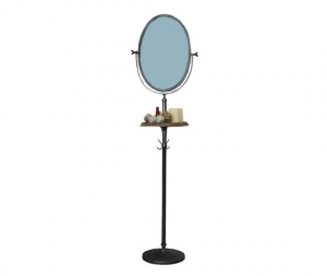 Specchio da terra ferro nero e legno naturale svuotatasche altezza 166cm