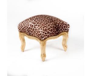 Pouf in legno finitura oro tessuto leopardato 38x39x39 Stile Barocco