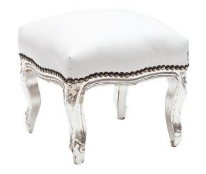 Pouf faggio argento seduta ecopelle bianco 38x39x39cm Stile Barocco