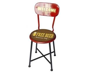 Sedia in metallo rosso marrone pub Free Beer
