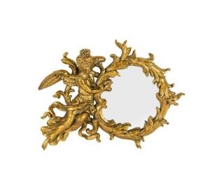 Specchio cornice oro con angelo e foglie Stile Barocco