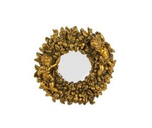 Specchio rotondo cornice oro con putti e frutta Stile Barocco