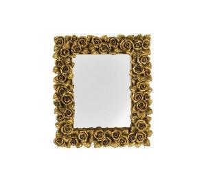Specchio rettangolare cornice oro con rose Stile Barocco