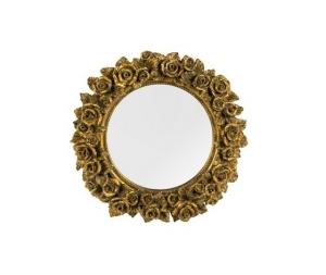 Specchio rotondo cornice oro con rose in Stile Barocco