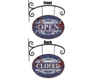 Insegna a braccio bifacciale in ferro Open Closed