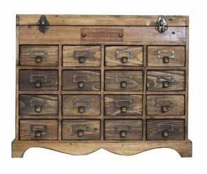 Cassettiera in legno naturale 16 cassetti stile industrial