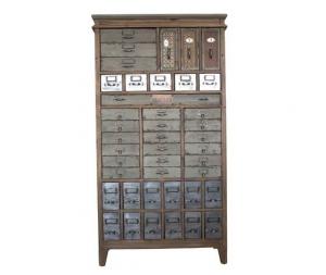 Cassettiera in legno naturale multicassetto stile industrial