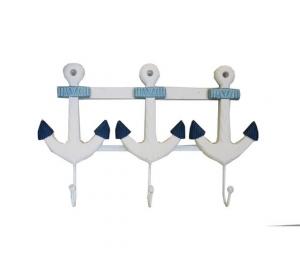 Appendino da parete in legno bianco e azzurro ancore 3 ganci metallo
