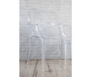 Sedia con braccioli in plexiglass trasparente, set di due sedie