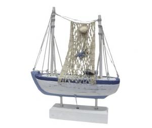 Barca vela soprammobile decorativo legno bianco azzurro