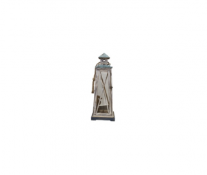 Lanterna porta candela faro legno bianco azzurro