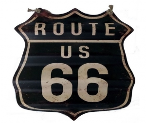 Targa in metallo nero 'route 66'