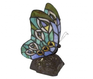 Lampada da tavolo Tiffany farfalla azzurro