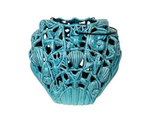 Soprammobile decorativo in ceramica turchese portacandela vaso