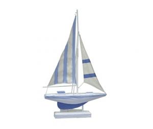 Barca a vela soprammobile decorativo legno bianco azzurro
