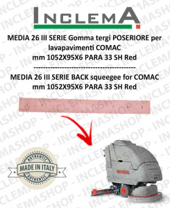 MEDIA 26 III SERIE Back Squeegee Rubber for Scrubber Dryer COMAC