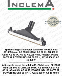 Spazzola registrabile per polvere ø50 GHIBLI, cod: 6010052 per modelli AS 590 IK CBM, AS 60 IK, AS 600 IK CBM, AS 40 IK, AS 40 KS, AS 40 M, POWER INDUST 60 TP M, POWER INDUST 60 TP H, AZ 35 400 V, AZ 45 400 V