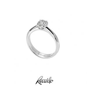 Recarlo - Anello Solitario Anniversary in Oro Bianco 18 kt carati con Diamante