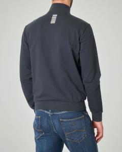 Felpa blu con chiusura zip e logo piccolo stampato