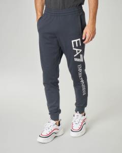 Pantalone in felpa blu con logo grande sulla gamba e taschino