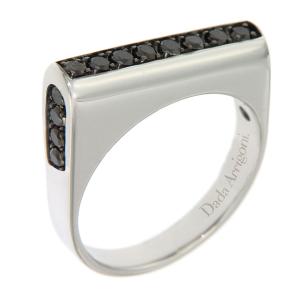 Anello in oro bianco e diamanti neri