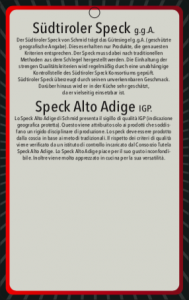 Speck Alto Adige IGP 1/4 di baffa - 1 kg ca