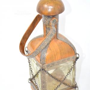 Bottiglia Vintage Ricoperta Di Pelle E Catene H26cm