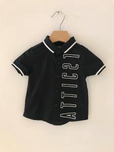 Camicia nera con stampa logo e bande bianche