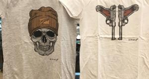 T- shirt con teschio colore grigio