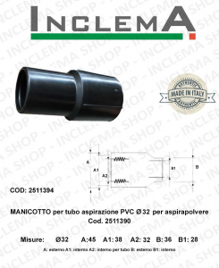 Manicotto X tubo aspirazione PVC Ø 32 per aspirapolvere Ghibli AS5/AS6, Maxiclean mx5/6