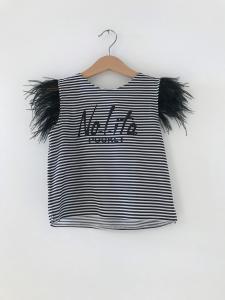 T-Shirt a righe bianche e nere con logo nero glitter
