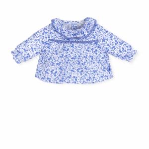 Blusa bianca con stampe blu