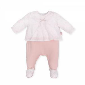 Tutina bianca con fiocco, stampe e pantalone rosa