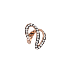 Anello Ivy  in oro rosa e diamanti brown