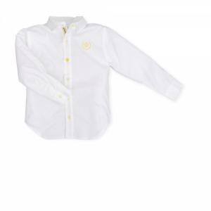 Camicia bianca con ricamo logo e dettagli gialli