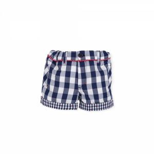 Pantaloncino a righe bianche e blu con dettagli rossi