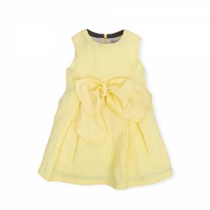 Vestito giallo con pois e fiocco