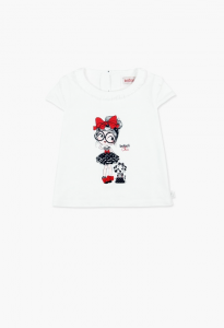 T-Shirt bianca con stampe bambina e cane