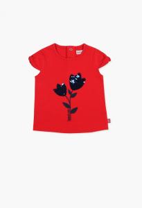 T-Shirt rossa con ricami fiore paillettes e logo blu