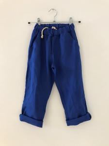 Pantalone blu elettrico con laccio beige