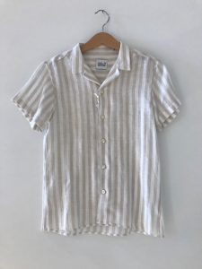 Camicia a righe bianche e beige
